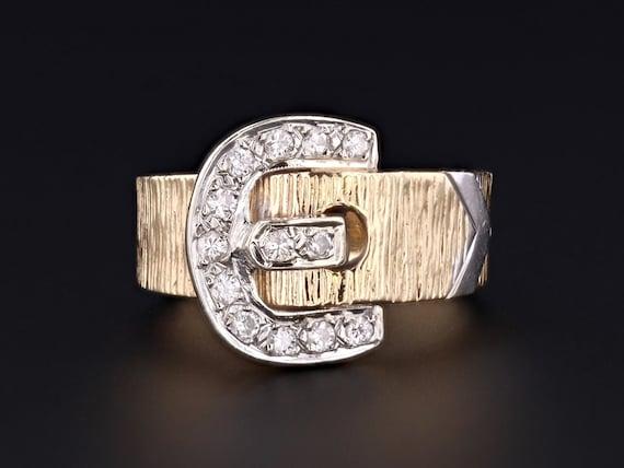 Vintage Buckle Ring | 14k Gold Buckle Ring | 14k G