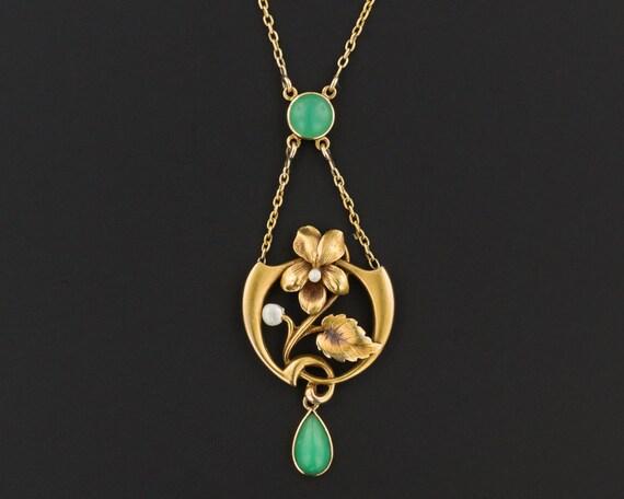 Antique Chrysoprase Necklace | 14k Gold Art Nouvea