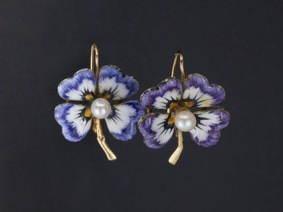 Antique Flower Earrings | Enamel & Pearl Flower Ea