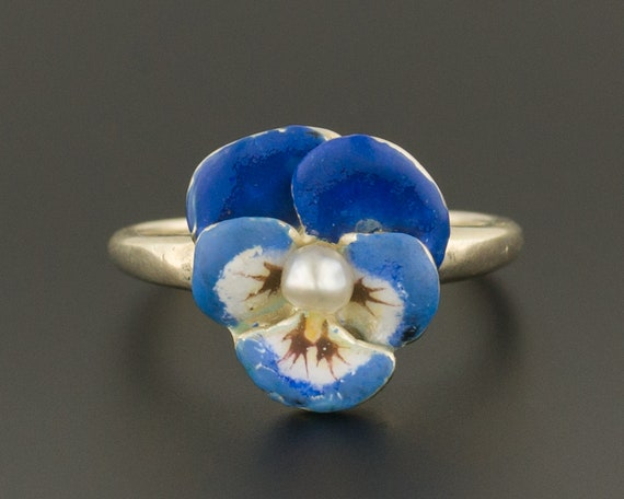 14k Gold Enamel Pansy Ring | Vintage Pearl Pansy R