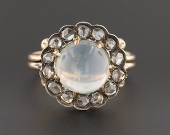 Moonstone & Diamond Ring | Antique Conversion Ring | 14k Gold Moonstone Ring | Moonstone Diamond Halo Ring | 14k Gold Ring