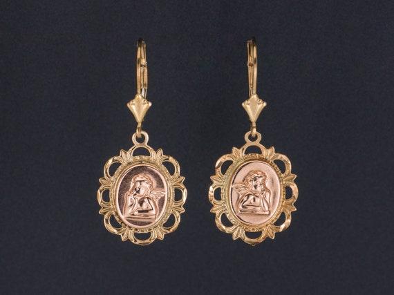 Vintage Cherub Earrings   Gold Cherub Earrings   1