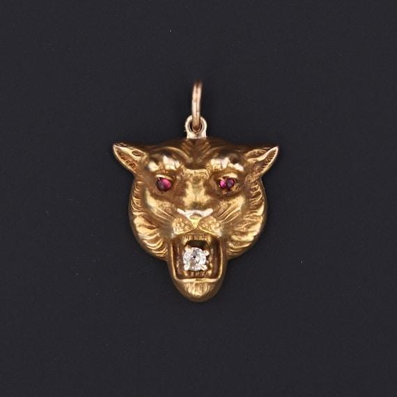 Antique Lion Charm | Pin Conversion | 14k Gold Cha