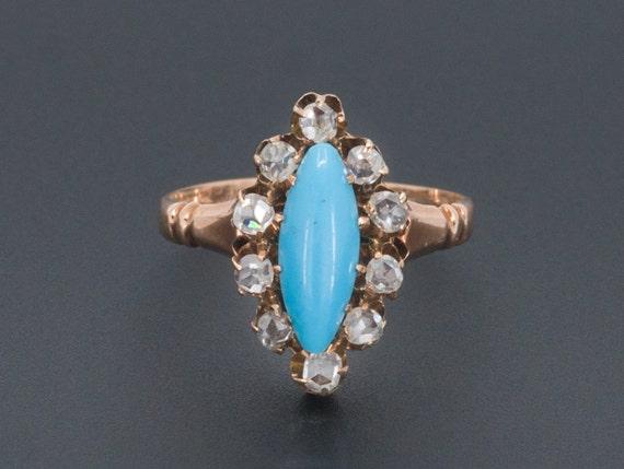 Antique Turquoise Glass & Diamond Ring | Antique 1
