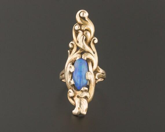 Black Opal Ring | 10k Gold Ring | Statement Ring |