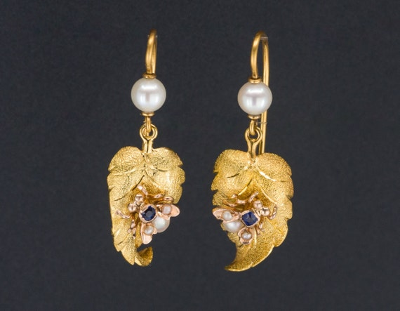 Antique Insect Earrings | 14k Gold Sapphire and Pe