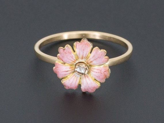 Enamel Flower Ring | Antique Pin Conversion Ring |