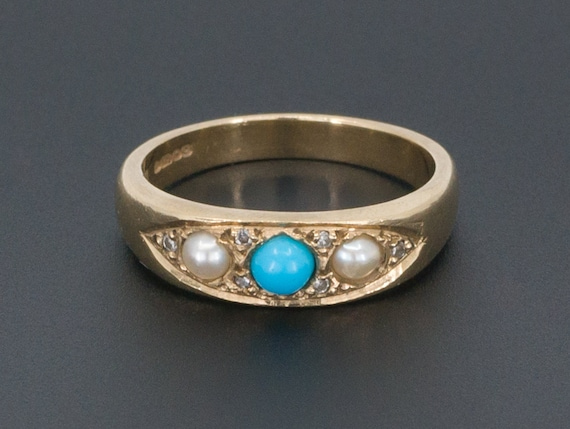Turquoise Pearl & Diamond Ring | Turquoise Ring |