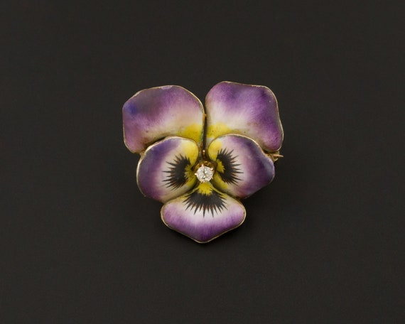 Purple Pansy Brooch | Antique Enamel Flower Pin |
