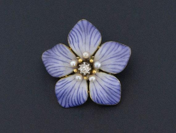 Antique Flower Brooch | Enamel Flower Brooch with