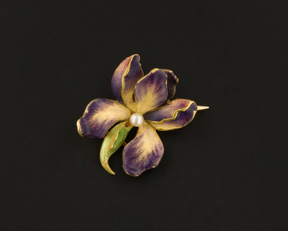 Antique Orchid Brooch | Enamel Flower Brooch | Ant