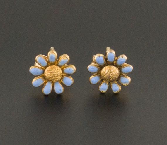 Enamel Flower Earrings | 14k Gold Earrings | Blue