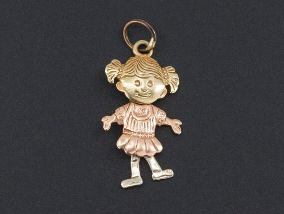 Vintage Doll Charm | 14k Gold Charm | Little Girl