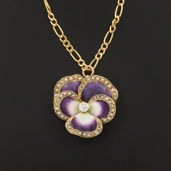 Art Nouveau Enamel Pansy Pendant or Brooch  | 14k