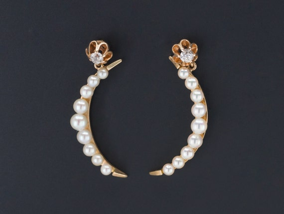 Crescent Moon Earrings | 14k Gold Pearl and Diamon