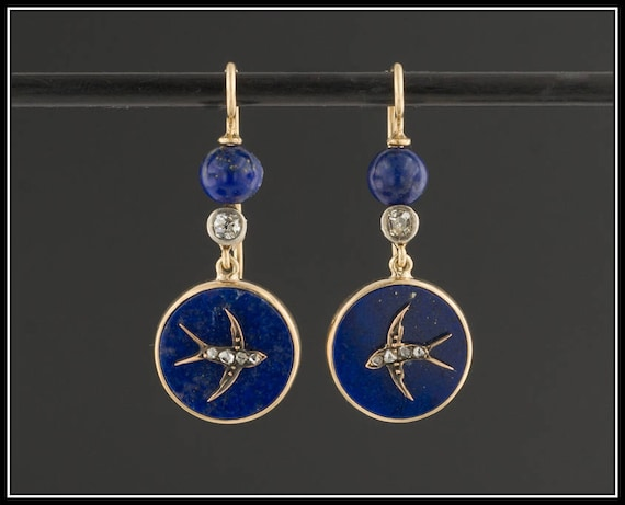 Antique Lapis Swallow Earrings | Lapis and Diamond
