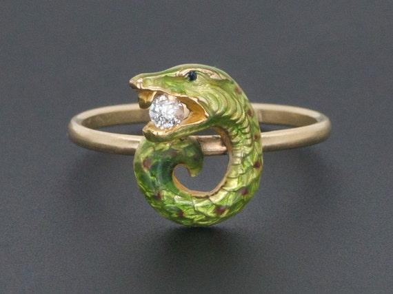 Snake Ring | Enamel & Diamond Snake Ring | 14k Gol
