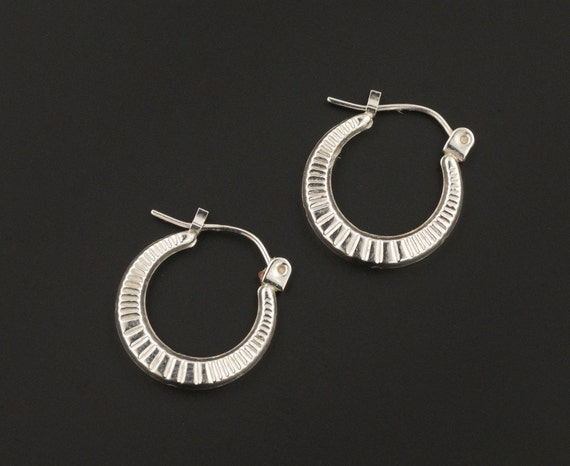 Vintage White Gold Hoop Earrings | 14k Gold Hoop E