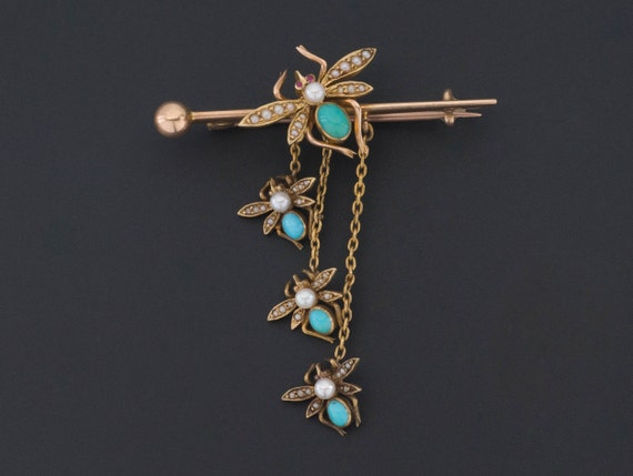 Antique Turquoise and Pearl Insect Pin | 14k Gold