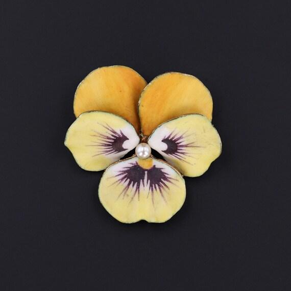 Yellow Pansy Brooch | Vintage Enamel Flower Brooc… - image 1