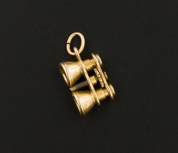 Binoculars Charm   14k Gold Charm   Vintage Binocu