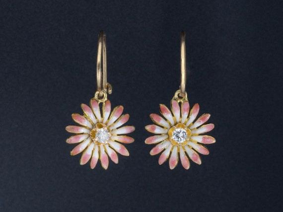 Vintage Diamond Flower Earrings | 14k Gold & Pink