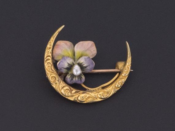 Antique Enamel Flower Pin | Antique Enamel Pansy P