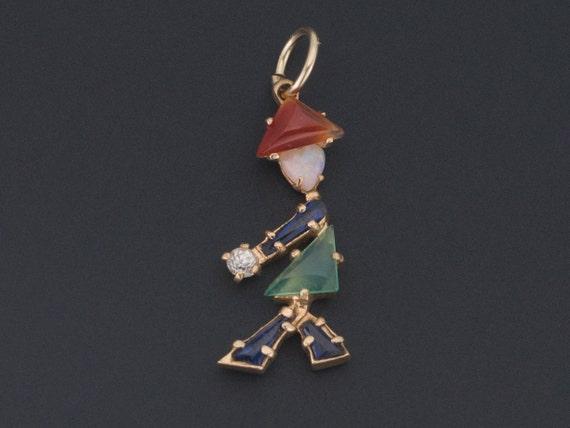 Vintage Person Charm | 14k Gold Charm | Gemstone P