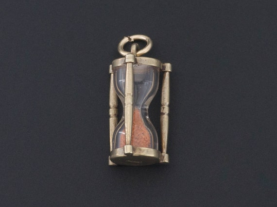 Vintage Hourglass Charm | 14k Gold Charm | Sand Ho