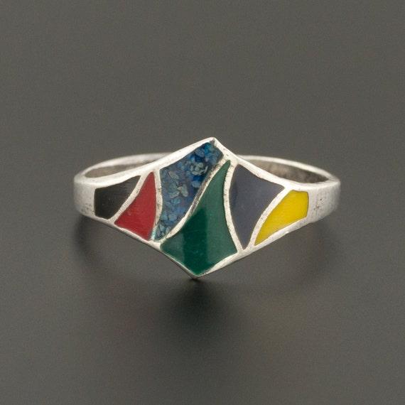 Vintage Enamel Ring | Sterling Silver Ring | Vinta