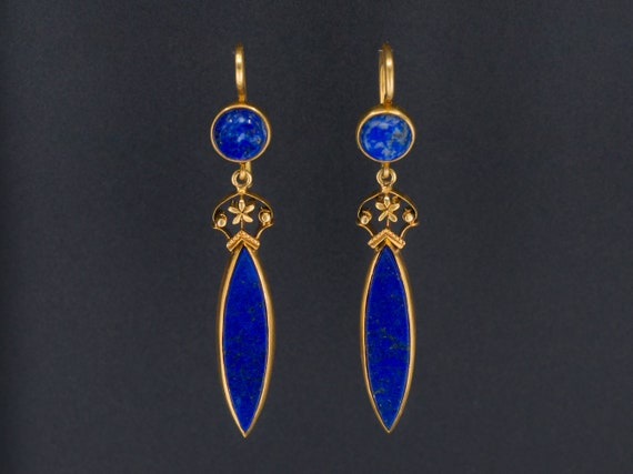 Antique Lapis Lazuli Earrings | 14k Gold Earrings