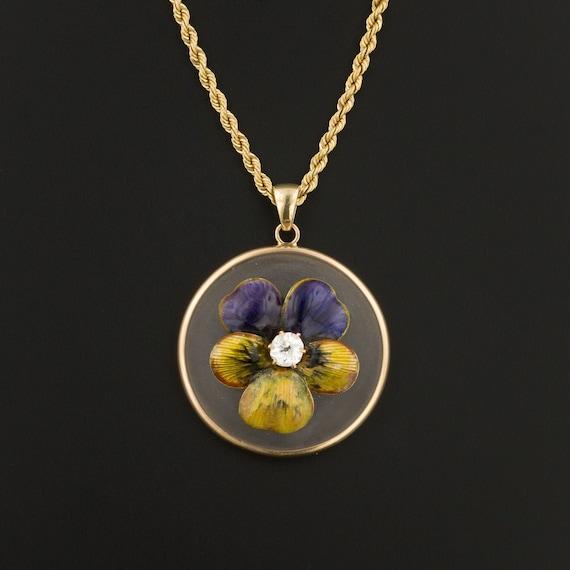 Art Nouveau Enamel Pansy Pendant  | 14k Gold Ename