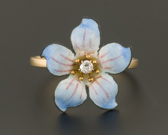 14k Gold Enamel and Diamond Flower Ring | Antique
