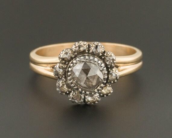 bague diamant fleur ancienne