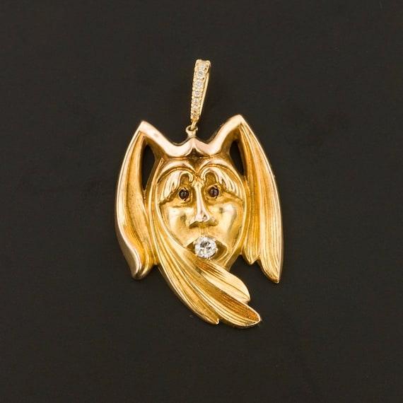 Antique Jester Pendant | 10k Gold & Diamond Jester