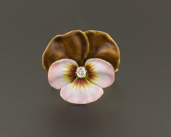 Pansy Ring | Antique Pansy Ring | 14k Gold Ring |