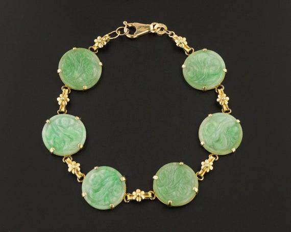 Jade Bracelet | 14k Gold Jade Bracelet | Vintage J