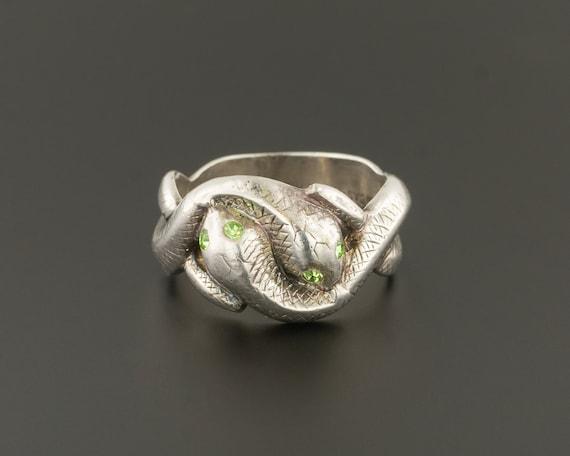 Sterling Silver Snake Ring | Double Snake Ring | U