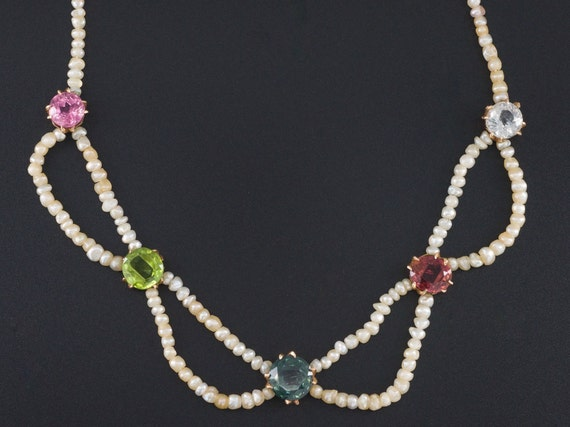 Pearl & Gemstone Necklace | 14k Gold Seed Pearl Ne