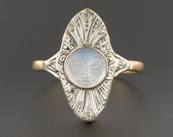 14k Gold Man-In-The-Moon Ring | Antique Conversion Ring | Carved Moonstone Face Ring | Celestial Ring
