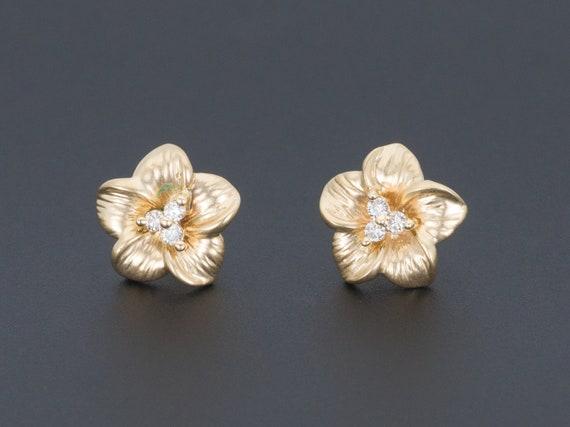 Yellow Gold Flower Earrings | Vintage Diamond Flow