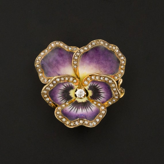Antique Pansy Brooch | Antique Enamel Pansy with P