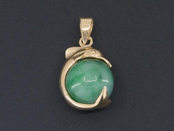 Dolphin Charm | 14k Gold & Jade Charm | Jade Dolph