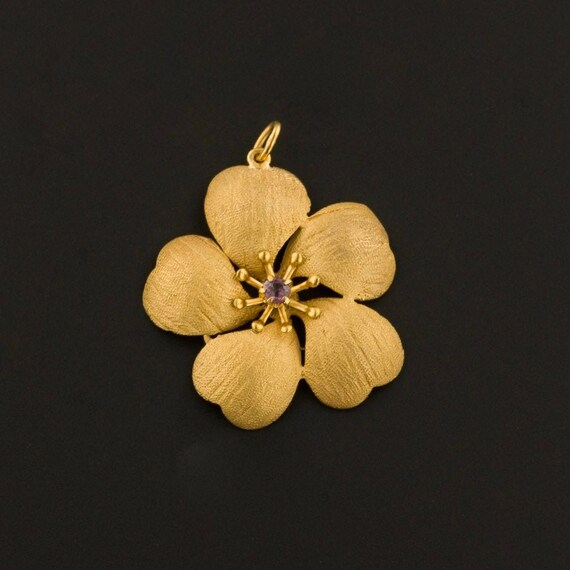 14k Gold Flower Pendant | Amethyst Flower Pendant