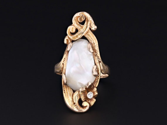 Pearl Ring   Antique Pearl Ring   Art Nouveau Ring
