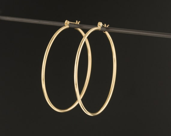 14k Gold Hoop Earrings | Vintage Gold Earrings | L