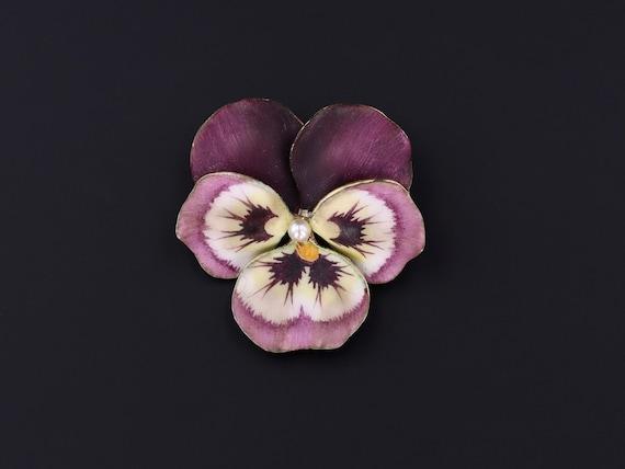 Purple Pansy Brooch | Vintage Enamel Flower Brooc… - image 1
