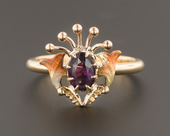 Antique Enamel Ring | Amethyst Glass Doublet & Ena
