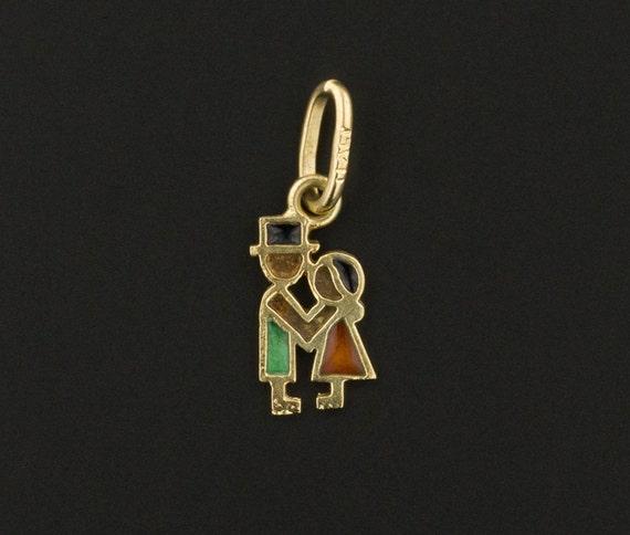Enamel Love Token Charm   14k Gold Charm   Vintage
