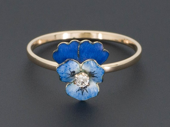 Pansy Ring | Enamel Pansy Ring with Diamond | Conv